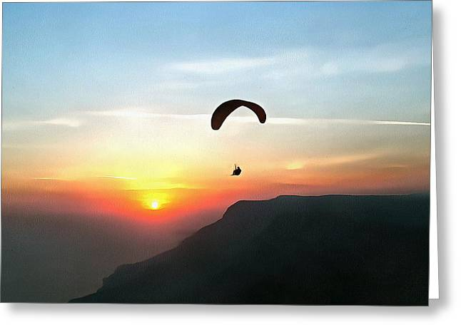 Sunset Paraglide Greeting Card by Tracey Harrington-Simpson