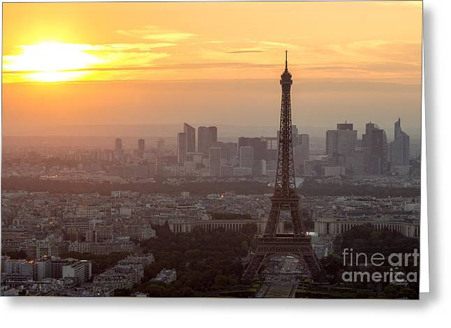 sunset Paris Greeting Card by VDW Images