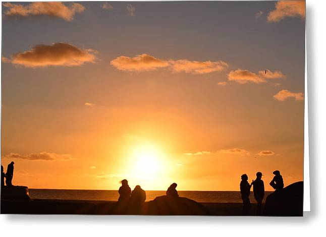Sunset People In Imperial Beach Greeting Card