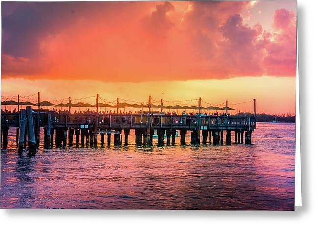 Sunset Pier At Mallory Square  Greeting Card by Art Spectrum