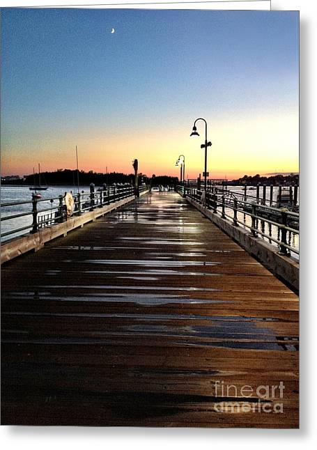 Sunset Pier Greeting Card by Extrospection Art