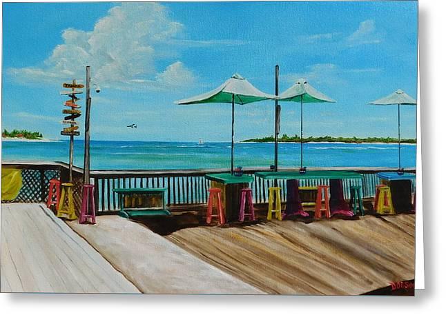Sunset Pier Tiki Bar - Key West Florida Greeting Card by Lloyd Dobson