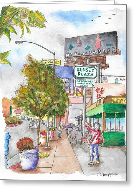 Sunset Plaza, Sunset Blvd., And Londonderry, West Hollywood, California Greeting Card