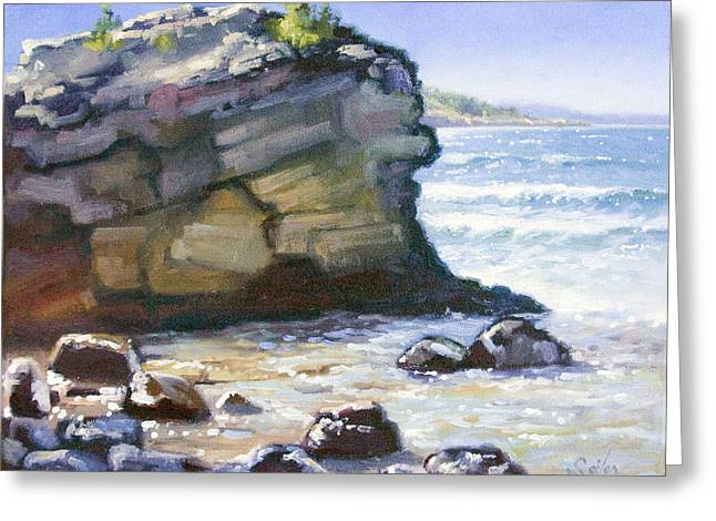 Sunset Point- Presque Isle Park- Lake Superior Greeting Card by Larry Seiler