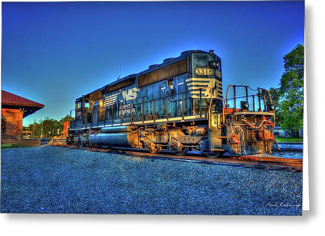 Sunset Pose Norfork Southern Locomotive 3318  Greeting Card