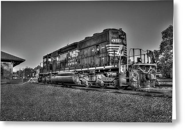 Sunset Posed Norfork Southern Railway Locomotive 3318 Greeting Card