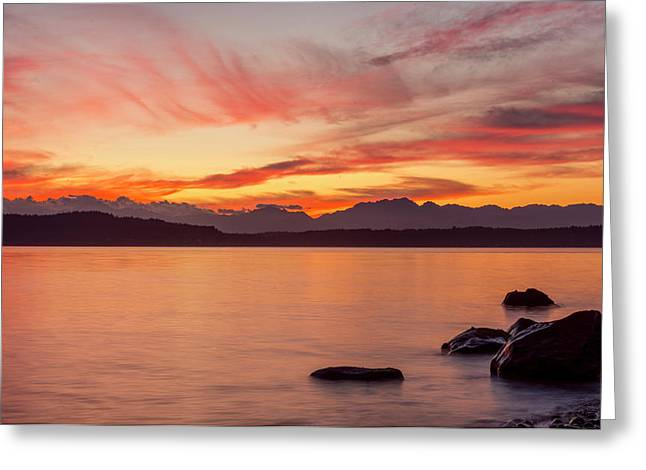 Sunset Puget Sound Greeting Card