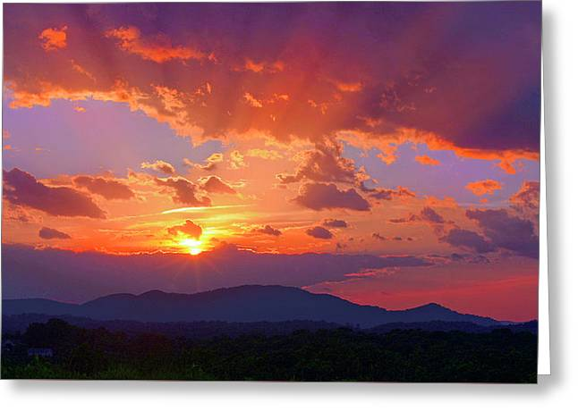 Sunset Rays At Smith Mountain Lake Greeting Card