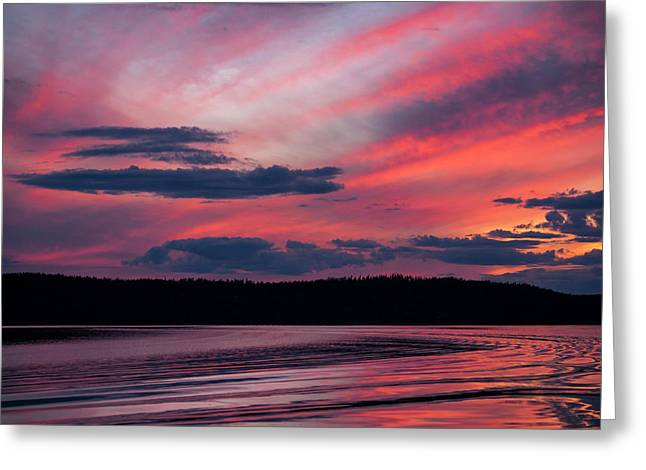 Sunset Red Lake Greeting Card