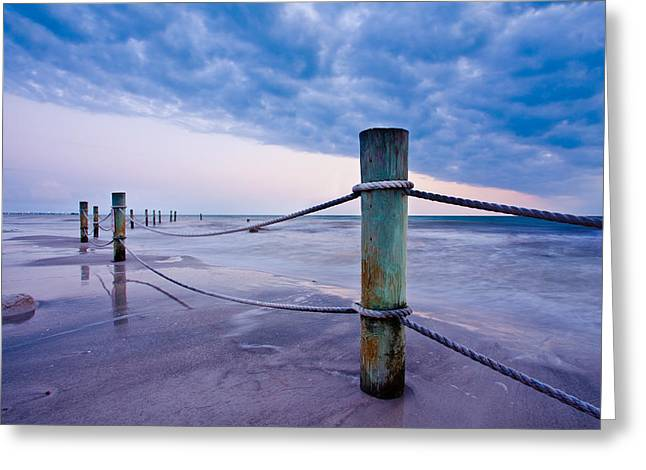 Sunset Reef Pilings Greeting Card by Adam Pender