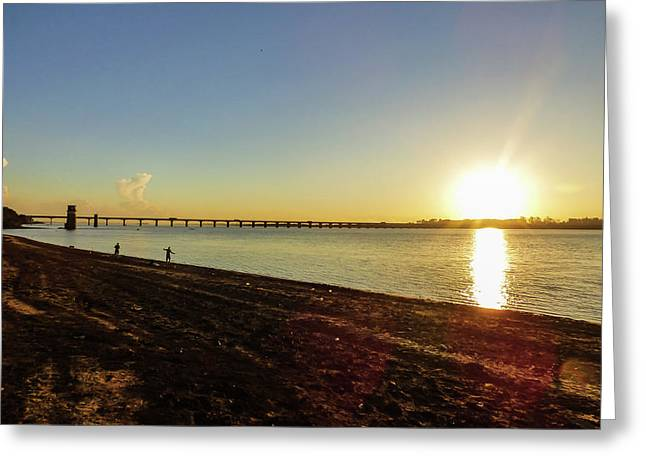 Sunset Reflecting On The Uruguay River Greeting Card