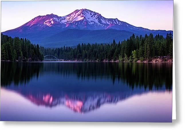 Sunset Reflection On Lake Siskiyou Of Mount Shasta Greeting Card
