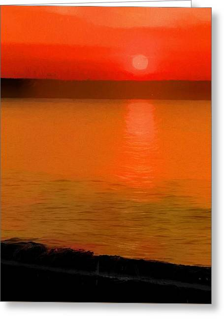 Sunset Reflection On The Beach Greeting Card by Dan Sproul