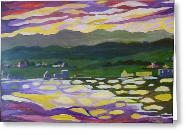 Sunset Reflection Greeting Card by Saga Sabin