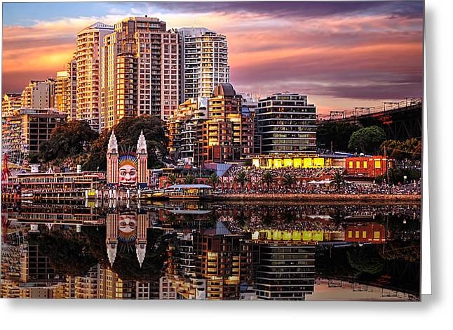 Sunset Reflections 2 - Luna Park By Kaye Menner Greeting Card by Kaye Menner