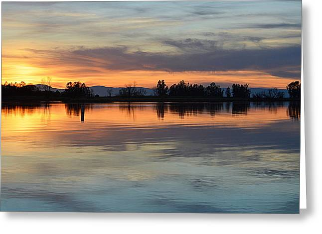 Greeting Card featuring the photograph Sunset Reflections by AJ Schibig