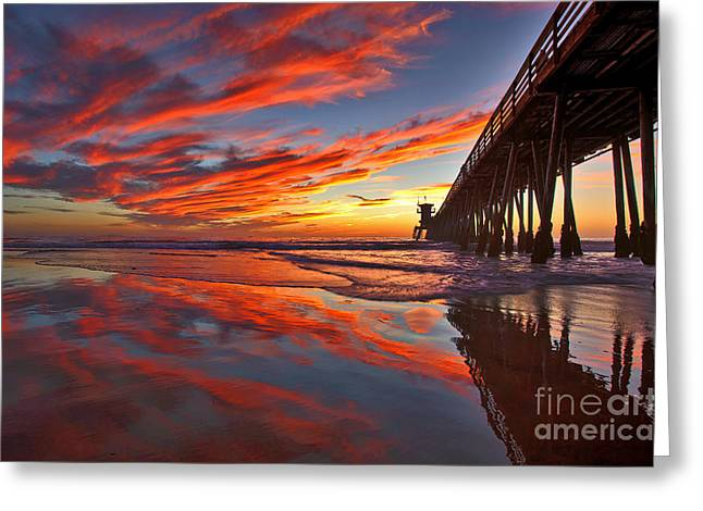 Sunset Reflections At The Imperial Beach Pier Greeting Card