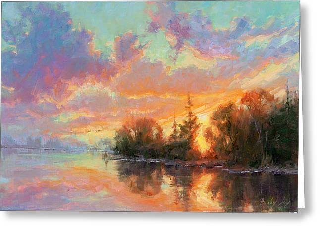 Sunset Reflections Greeting Card by Becky Joy