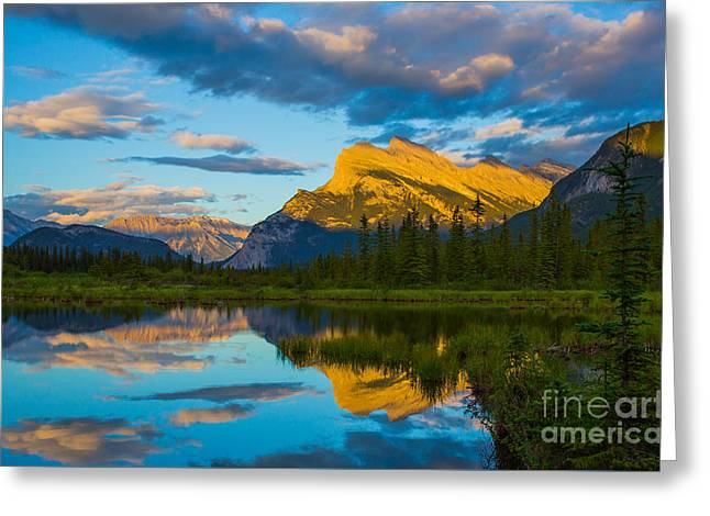 Sunset Reflections In Banff Greeting Card