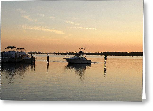 Sunset Reflections Greeting Card by Rose  Hill