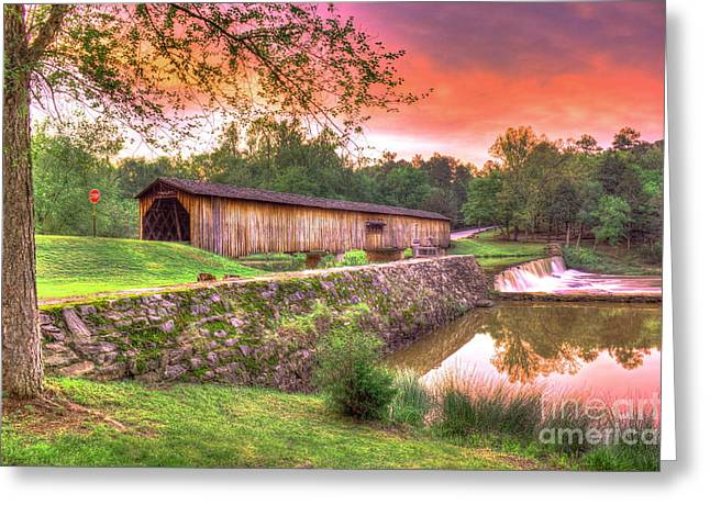 Sunset Reflections Watson Mill Covered Bridge Greeting Card by Reid Callaway