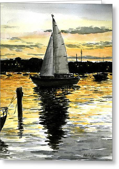 Sunset Ride Greeting Card by Paul Gardner