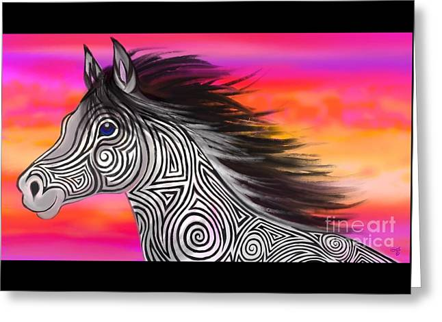 Greeting Card featuring the painting Sunset Ride Tribal Horse by Nick Gustafson