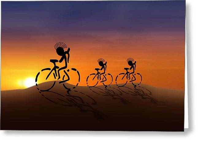 Sunset Riders Greeting Card by Gravityx9 Designs