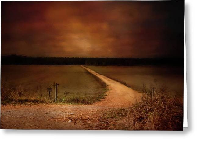 Sunset Road Landscape Art Greeting Card by Jai Johnson