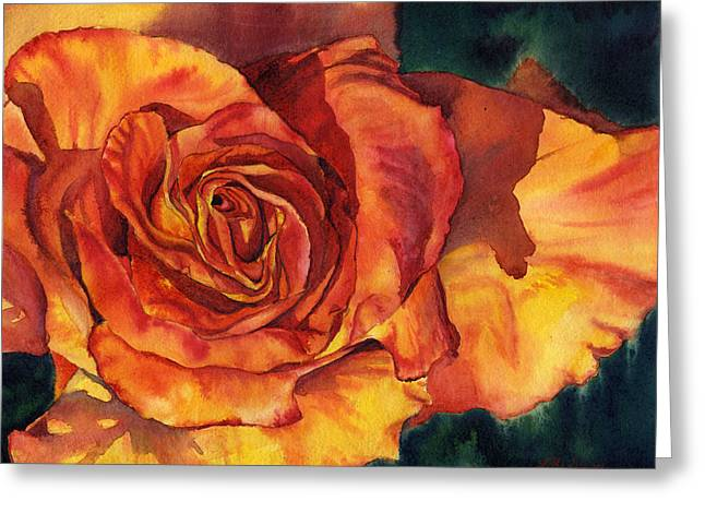Sunset Rose Greeting Card by Leslie Redhead