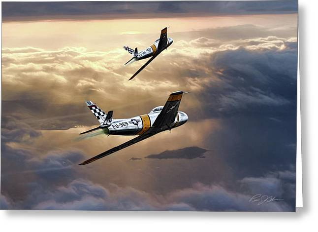 Sunset Sabres Greeting Card by Peter Chilelli