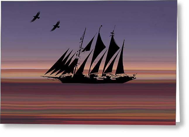 Sunset Sail Abstract Greeting Card