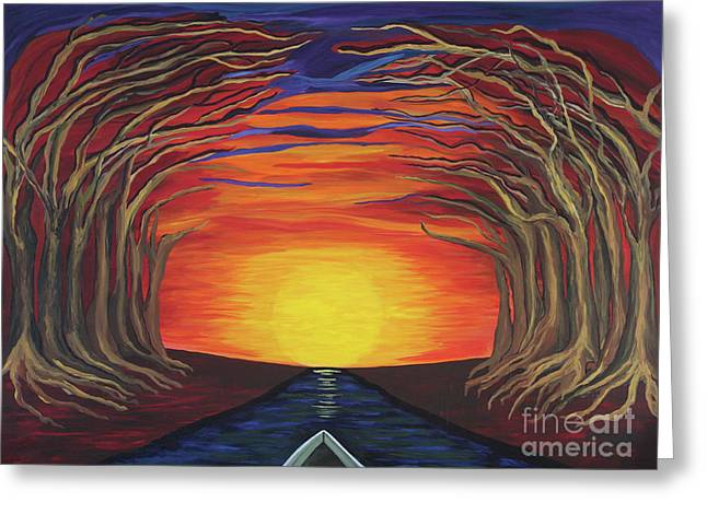 Treetop Sunset River Sail Greeting Card