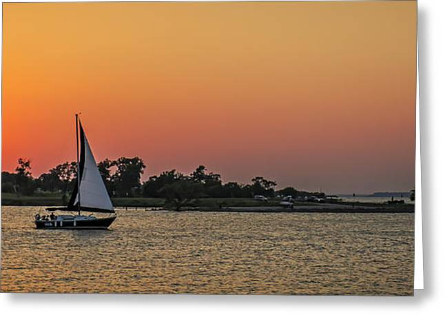 Sunset Sail Greeting Card by Charles Dobbs