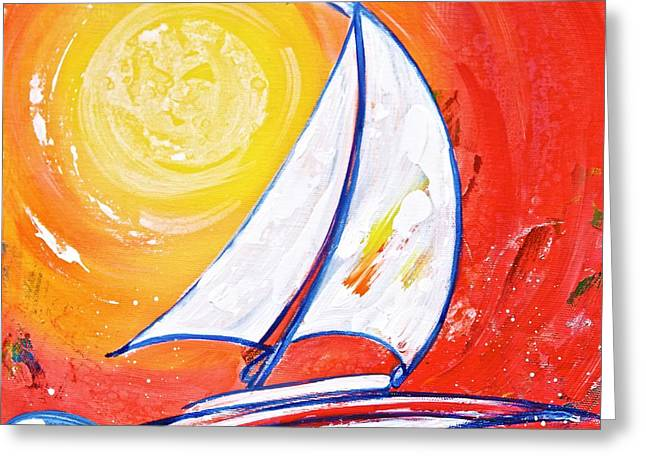 Sunset Sail Greeting Card by Debi Starr