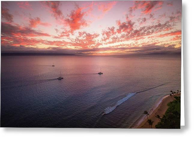 Sunset Sail Kaanapali Maui Greeting Card by Seascaping Photography
