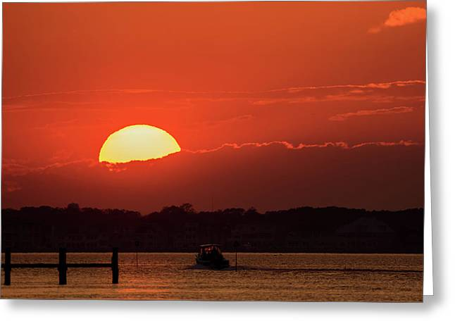 Sunset Sail October 2016 Lavallette Nj Greeting Card