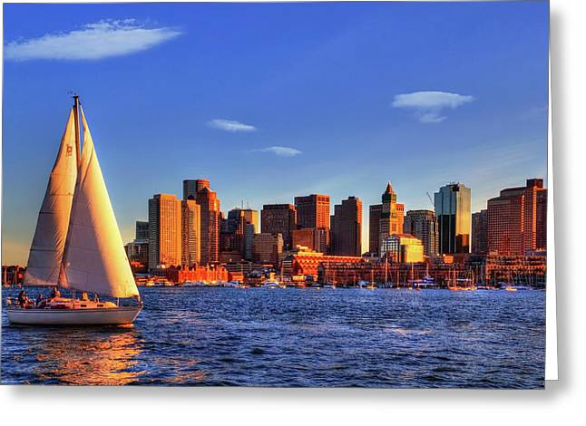 Sunset Sail On Boston Harbor Greeting Card