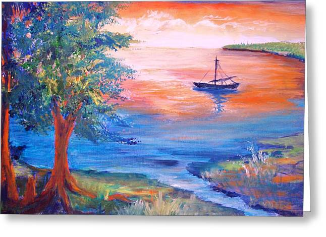 Sunset Sailing Greeting Card by Anne Dentler