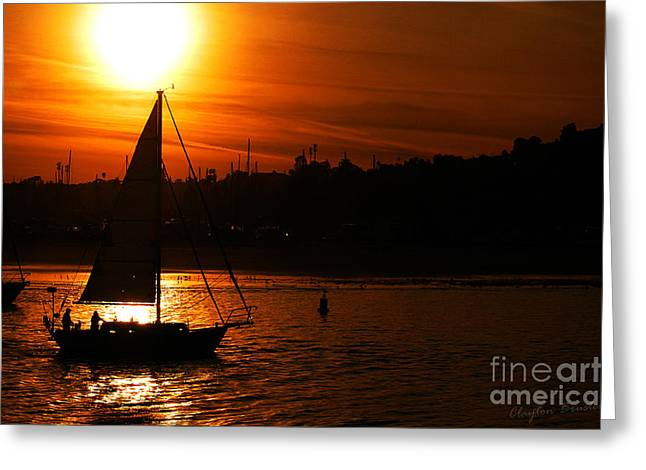 Sunset Sailing Greeting Card by Clayton Bruster