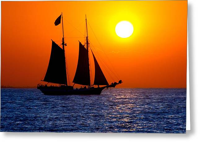 Sunset Sailing In Key West Florida Greeting Card