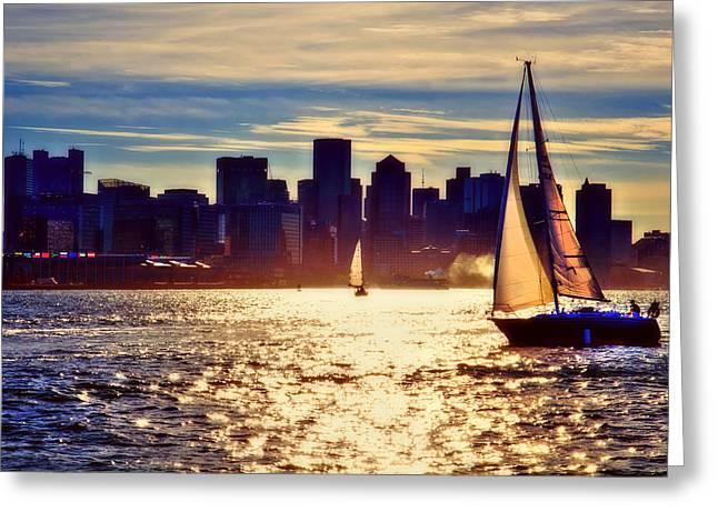 Sunset Sailing On Boston Harbor Greeting Card