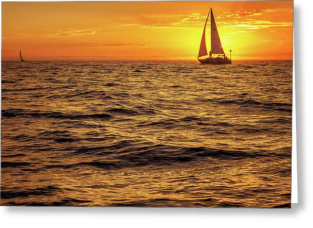 Sunset Sailing Greeting Card by Steve Spiliotopoulos