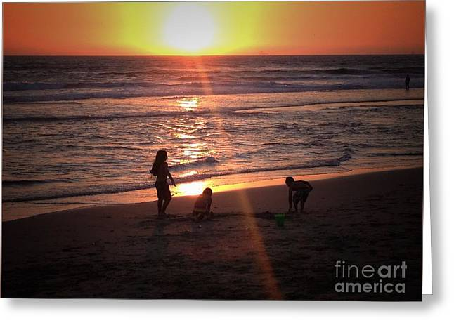 Sunset Sandcastle  Greeting Card by Leah McPhail