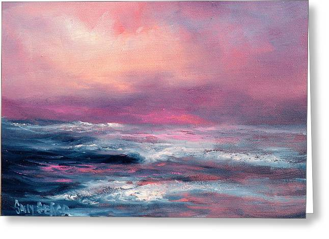 Sunset Sea Greeting Card by Sally Seago
