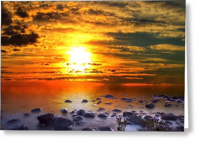 Greeting Card featuring the painting Sunset Shoreline by Mark Taylor