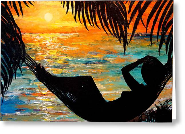 Sunset Silhouette Greeting Card by Alan Lakin