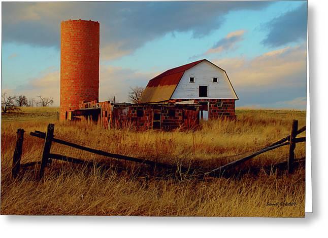 Sunset Silo Barn Greeting Card