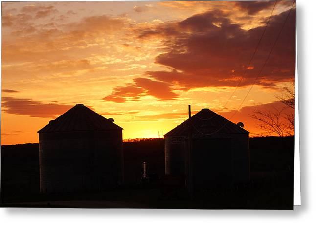 Sunset Silos Greeting Card