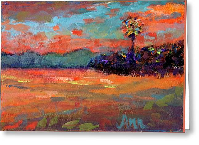 Sunset Skies Greeting Card by Ann Lutz
